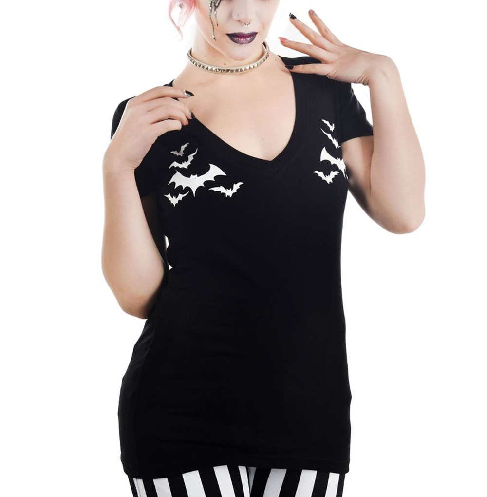 TOO FAST Clothing Rockabilly Goth Black BATS Sweet Vee Top All Sizes