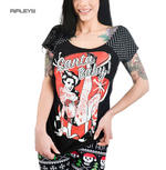 TOO FAST Clothing Rockabilly Black SANTA BABY Polka Dot Bolivar Top All Sizes Thumbnail 1