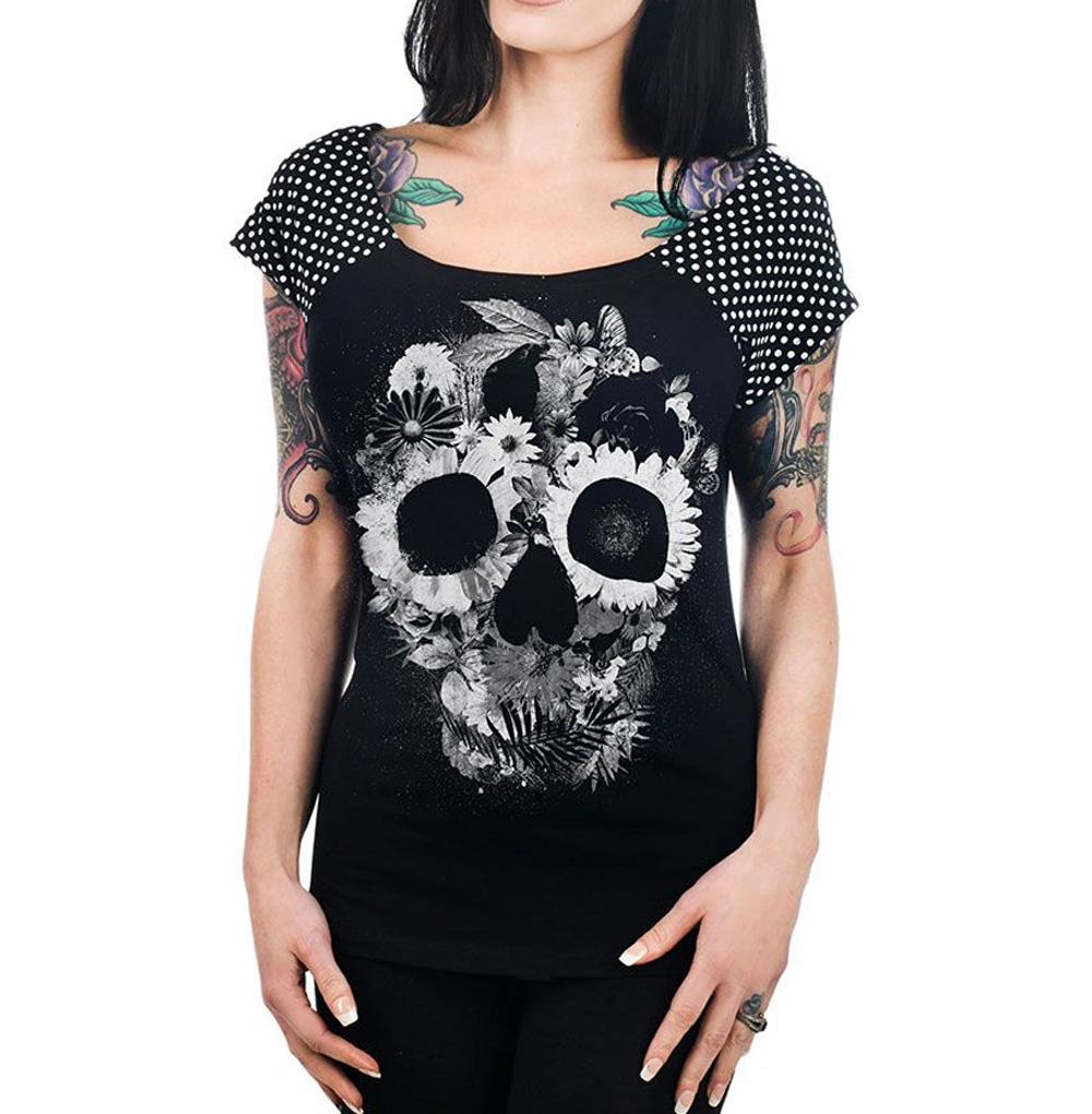 TOO-FAST-Clothing-Rockabilly-Black-SKULL-JUNGLE-Polka-Dot-Bolivar-Top-All-Sizes thumbnail 3