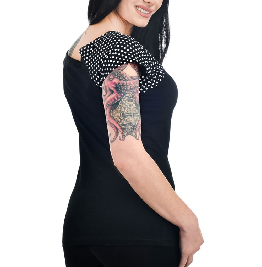 TOO-FAST-Clothing-Rockabilly-Black-SKULL-JUNGLE-Polka-Dot-Bolivar-Top-All-Sizes thumbnail 9