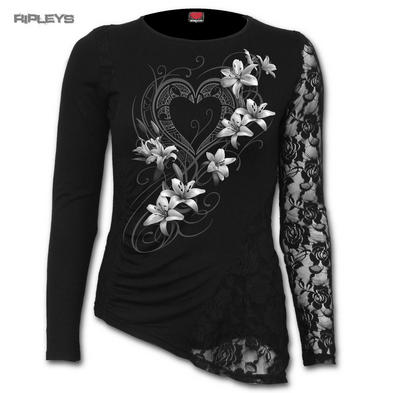 SPIRAL DIRECT Ladies Black Goth PURE OF HEART Lace Top L/Sleeve All Sizes