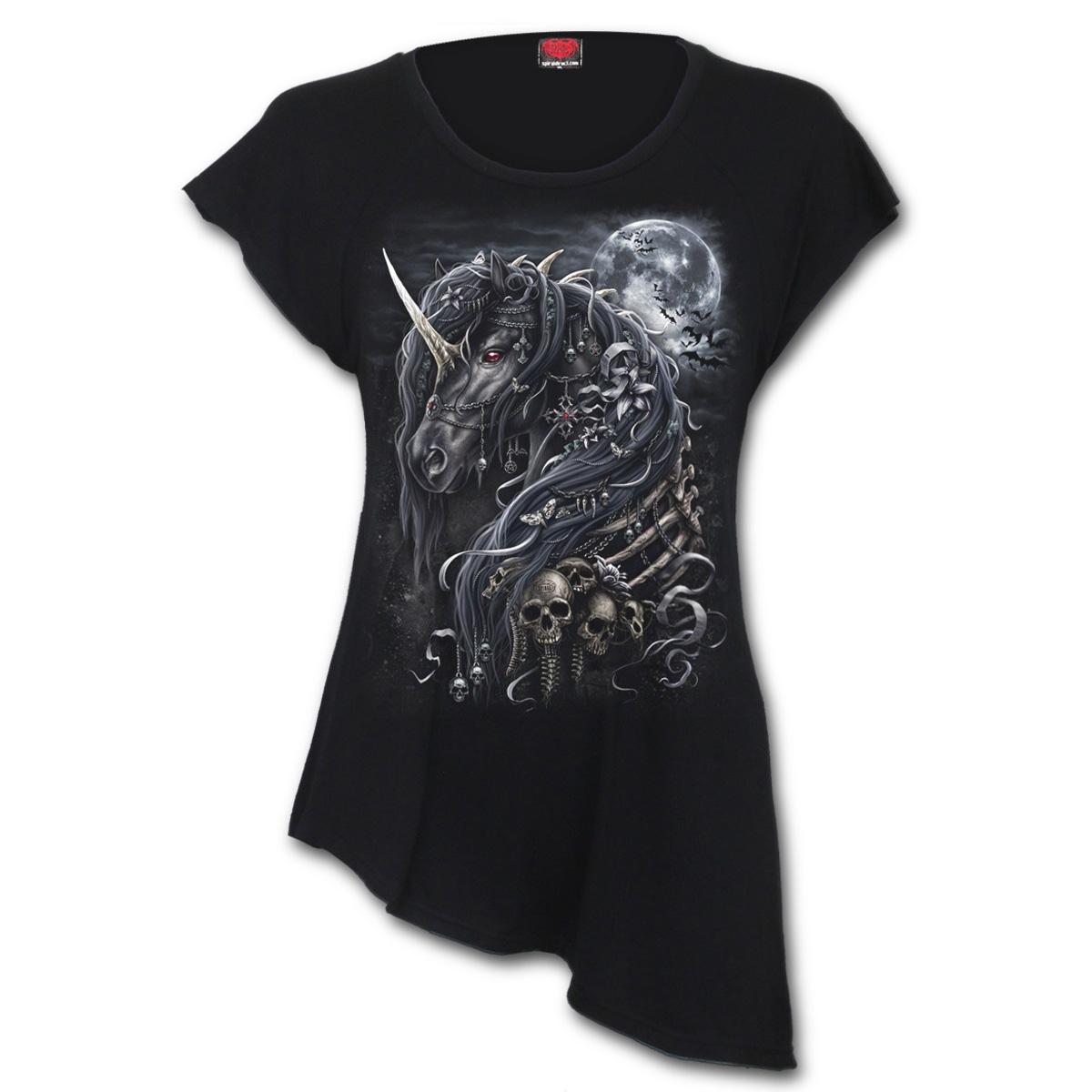 Spiral-Direct-Ladies-Black-Goth-DARK-UNICORN-Asymmetric-Top-All-Sizes thumbnail 5
