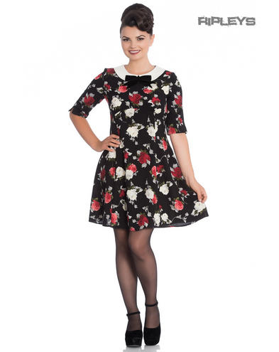 Hell Bunny Black 50s Mini Skater Dress SELMA Floral Flowers Roses All Sizes