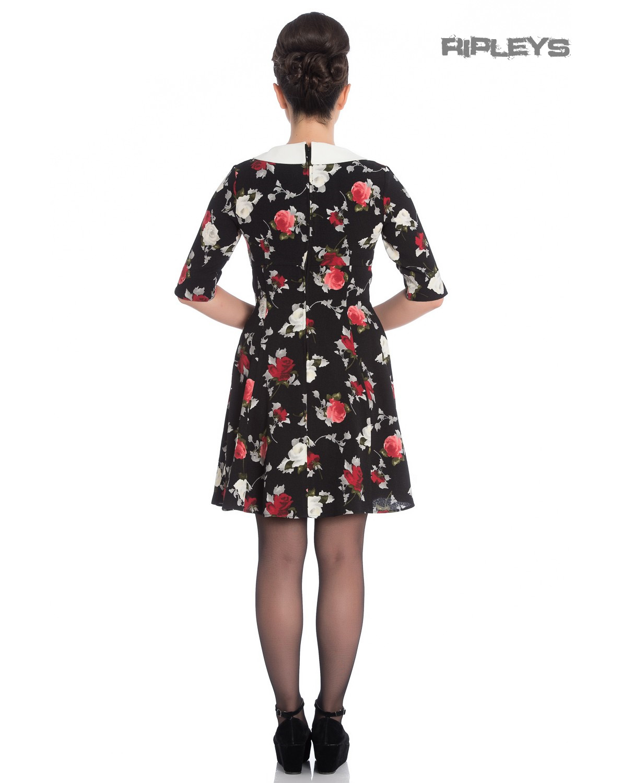 Hell-Bunny-Black-50s-Mini-Skater-Dress-SELMA-Floral-Flowers-Roses-All-Sizes thumbnail 24