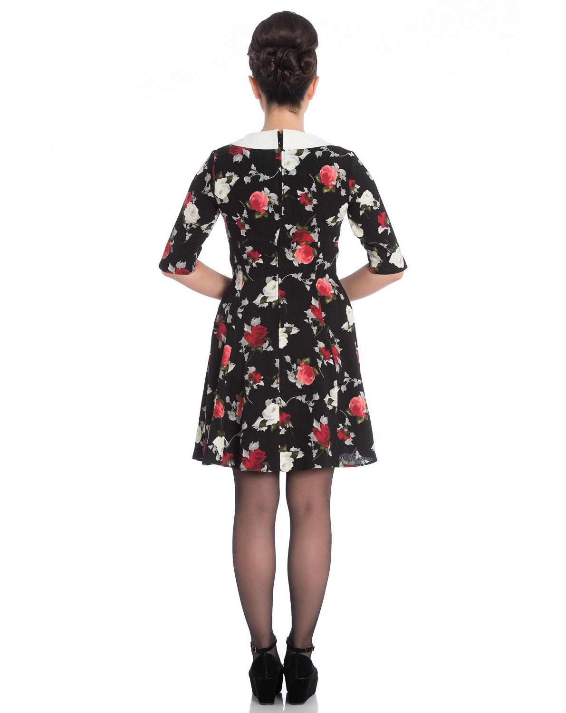 Hell-Bunny-Black-50s-Mini-Skater-Dress-SELMA-Floral-Flowers-Roses-All-Sizes thumbnail 5