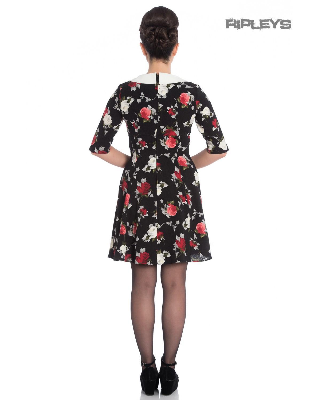 Hell-Bunny-Black-50s-Mini-Skater-Dress-SELMA-Floral-Flowers-Roses-All-Sizes thumbnail 8