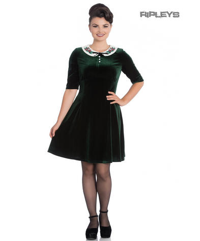 Hell Bunny Mini Skater Dress Festive Christmas MERRILY Green Velvet All Sizes