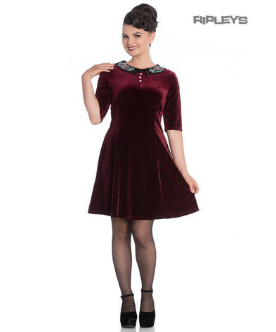 e15388dc7f Hell Bunny Mini Skater Dress Festive Christmas MERRILY Red Velvet All Sizes