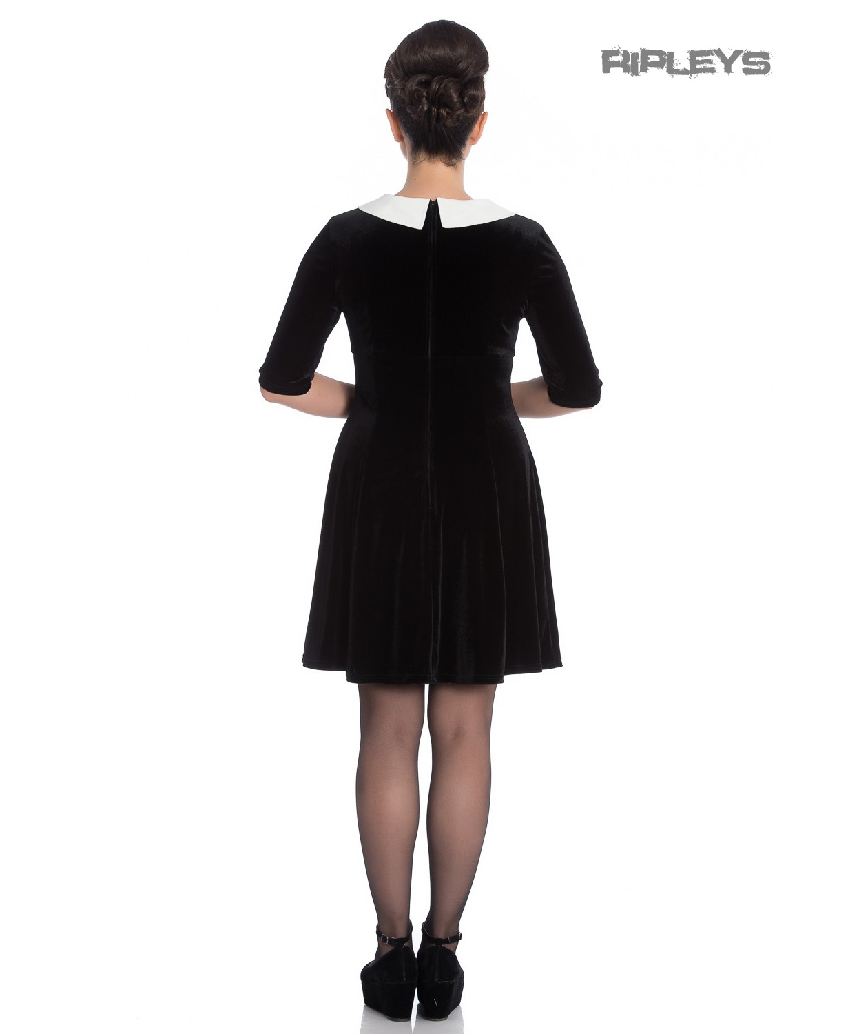 Hell-Bunny-Mini-Skater-Dress-Festive-Christmas-SNOWY-Black-Snowflakes-All-Sizes thumbnail 8