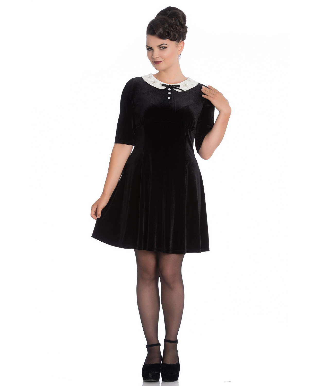 Hell-Bunny-Mini-Skater-Dress-Festive-Christmas-SNOWY-Black-Snowflakes-All-Sizes thumbnail 7