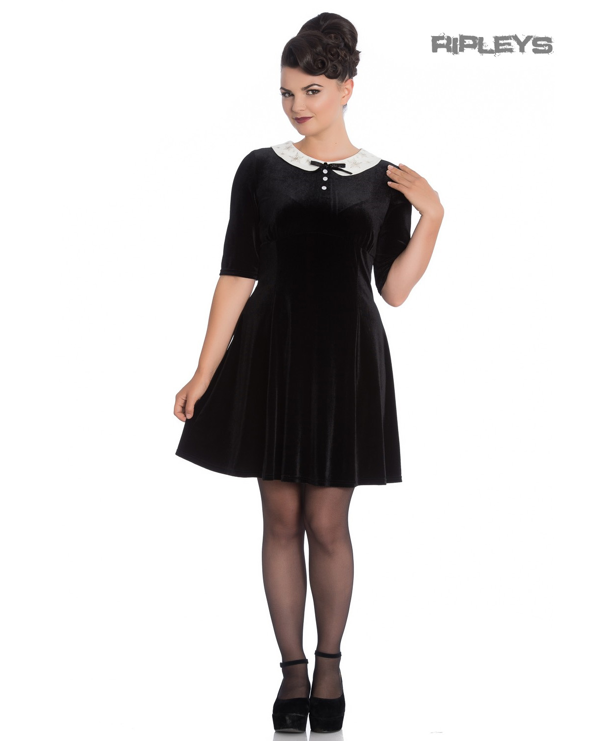 Hell-Bunny-Mini-Skater-Dress-Festive-Christmas-SNOWY-Black-Snowflakes-All-Sizes thumbnail 6