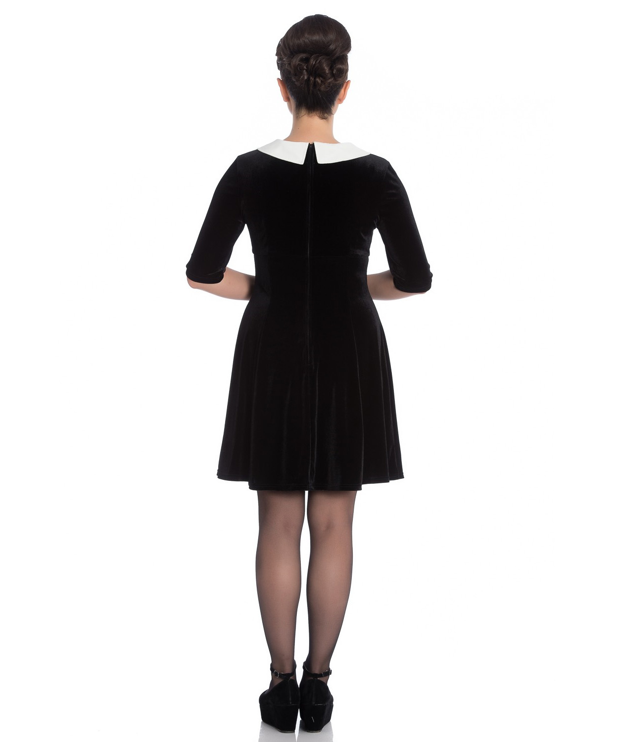 Hell-Bunny-Mini-Skater-Dress-Festive-Christmas-SNOWY-Black-Snowflakes-All-Sizes thumbnail 5