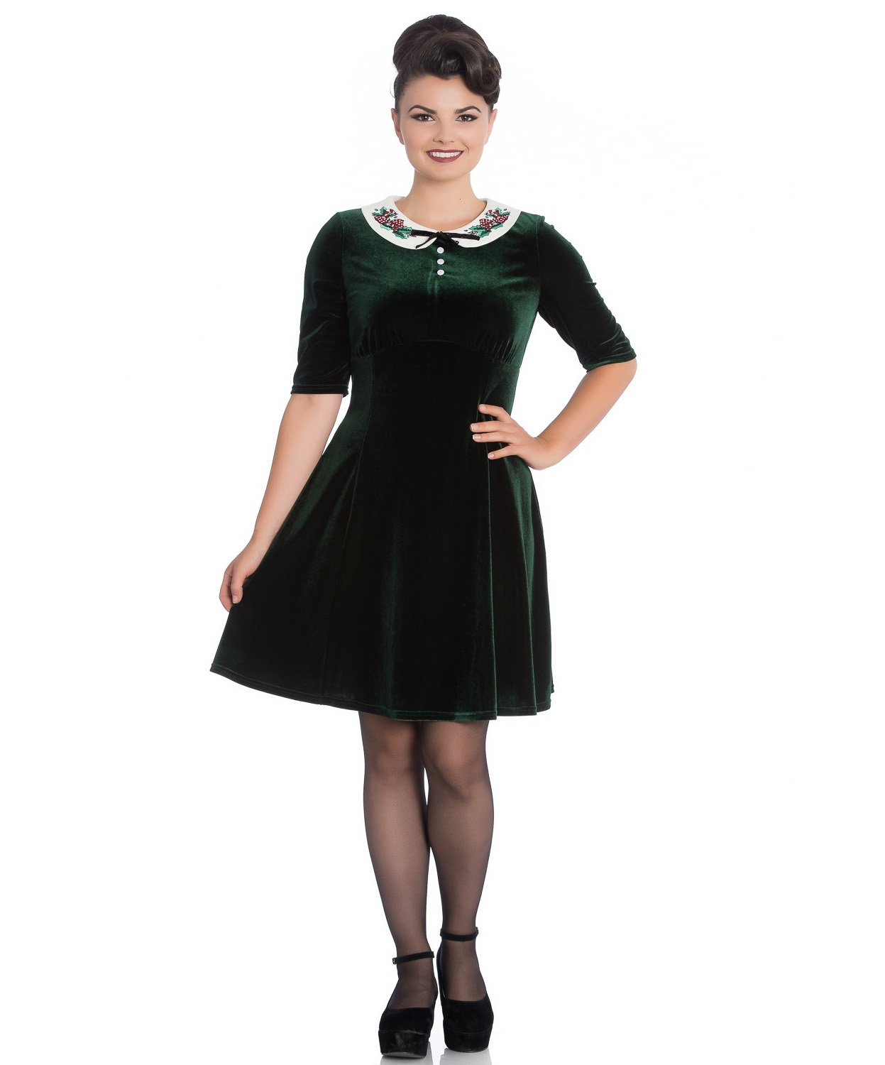 Hell-Bunny-Mini-Skater-Dress-Festive-Christmas-MERRILY-Green-Velvet-All-Sizes thumbnail 3