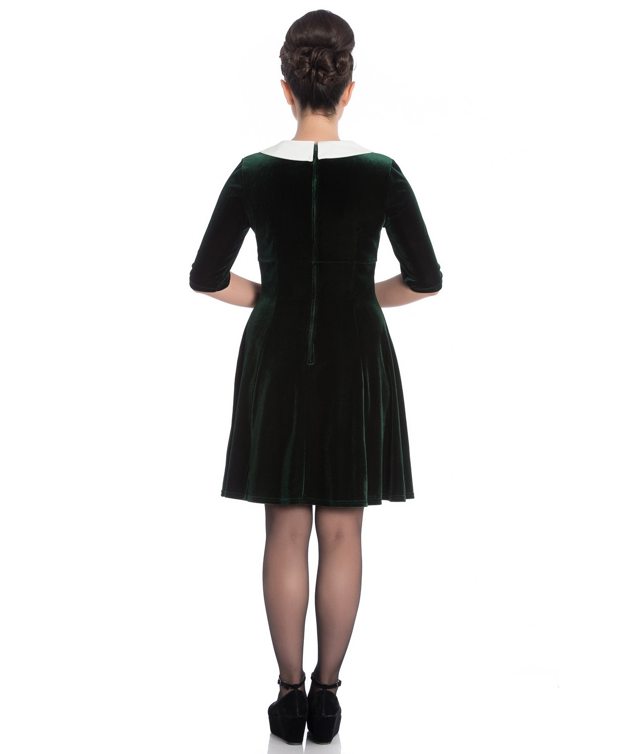 Hell-Bunny-Mini-Skater-Dress-Festive-Christmas-MERRILY-Green-Velvet-All-Sizes thumbnail 5