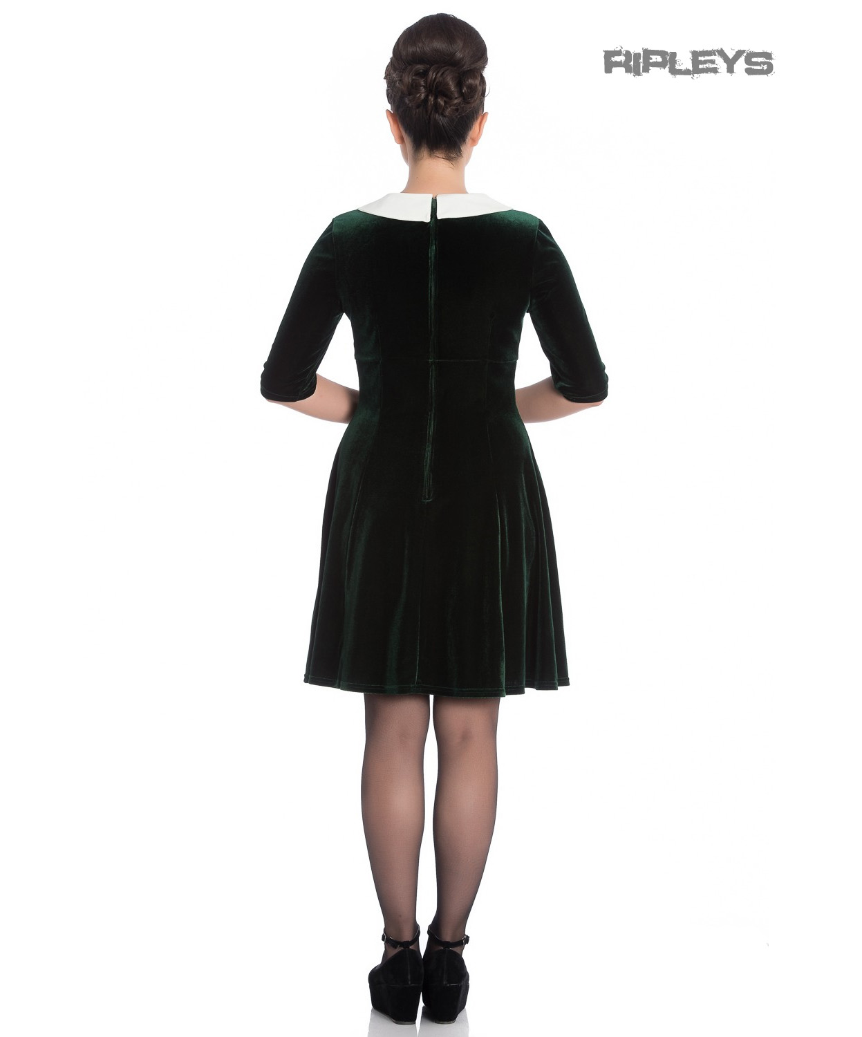Hell-Bunny-Mini-Skater-Dress-Festive-Christmas-MERRILY-Green-Velvet-All-Sizes thumbnail 4