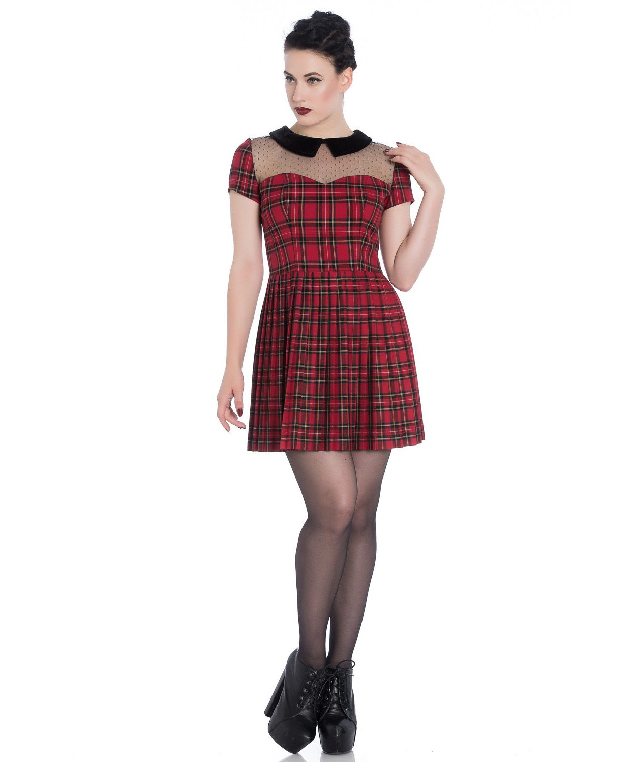 Hell-Bunny-Spin-Doctor-Goth-Punk-Mini-Dress-LILITH-Mesh-Red-Tartan-All-Sizes thumbnail 3