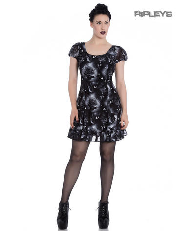 Hell Bunny Alchemy Gothic Black Skater Mini Dress ASH Crows Skulls All Sizes Preview