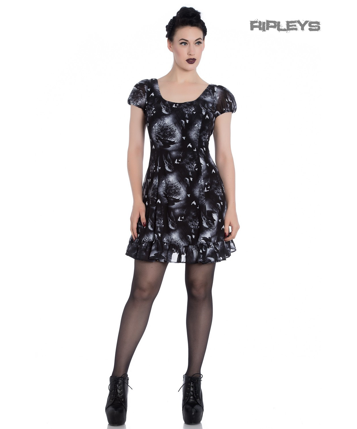 Hell-Bunny-Alchemy-Gothic-Black-Skater-Mini-Dress-ASH-Crows-Skulls-All-Sizes thumbnail 10