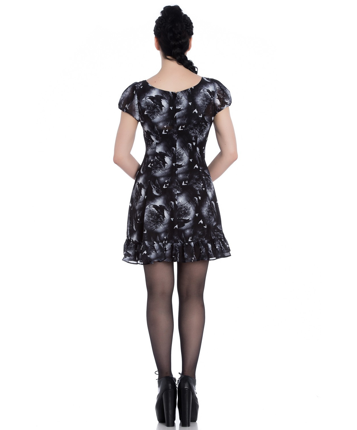 Hell-Bunny-Alchemy-Gothic-Black-Skater-Mini-Dress-ASH-Crows-Skulls-All-Sizes thumbnail 5
