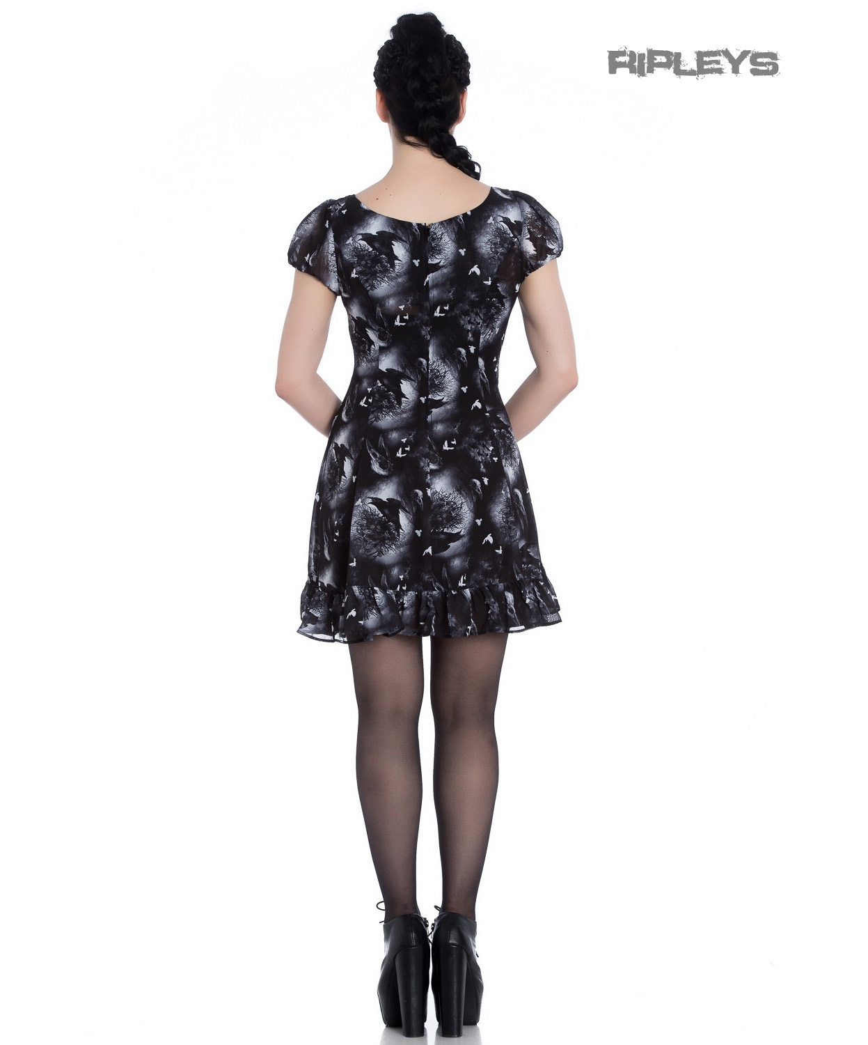 Hell-Bunny-Alchemy-Gothic-Black-Skater-Mini-Dress-ASH-Crows-Skulls-All-Sizes thumbnail 4