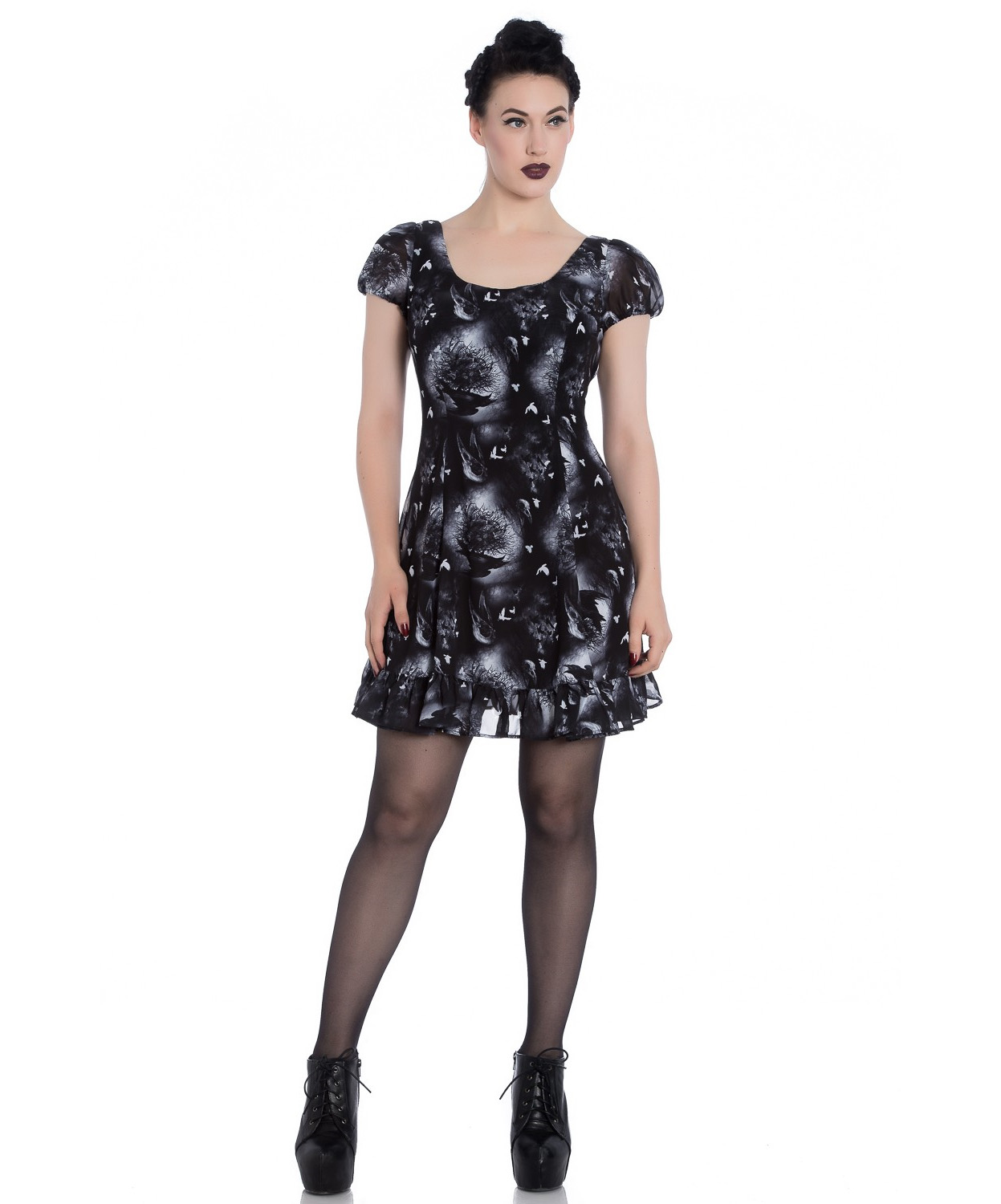 Hell-Bunny-Alchemy-Gothic-Black-Skater-Mini-Dress-ASH-Crows-Skulls-All-Sizes thumbnail 3