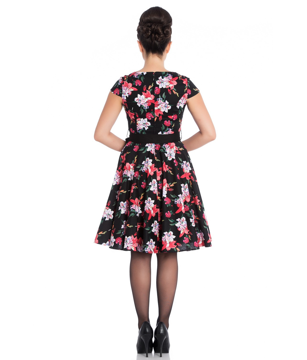 Hell-Bunny-Pin-Up-Mid-Length-50s-Dress-LILIANA-Lilly-Black-Flowers-Bow-All-Sizes thumbnail 9