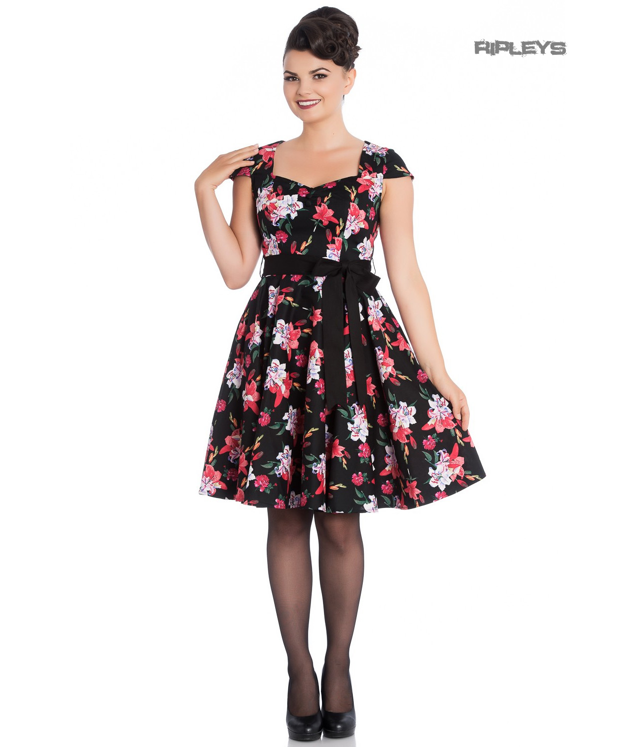 Hell-Bunny-Pin-Up-Mid-Length-50s-Dress-LILIANA-Lilly-Black-Flowers-Bow-All-Sizes thumbnail 6