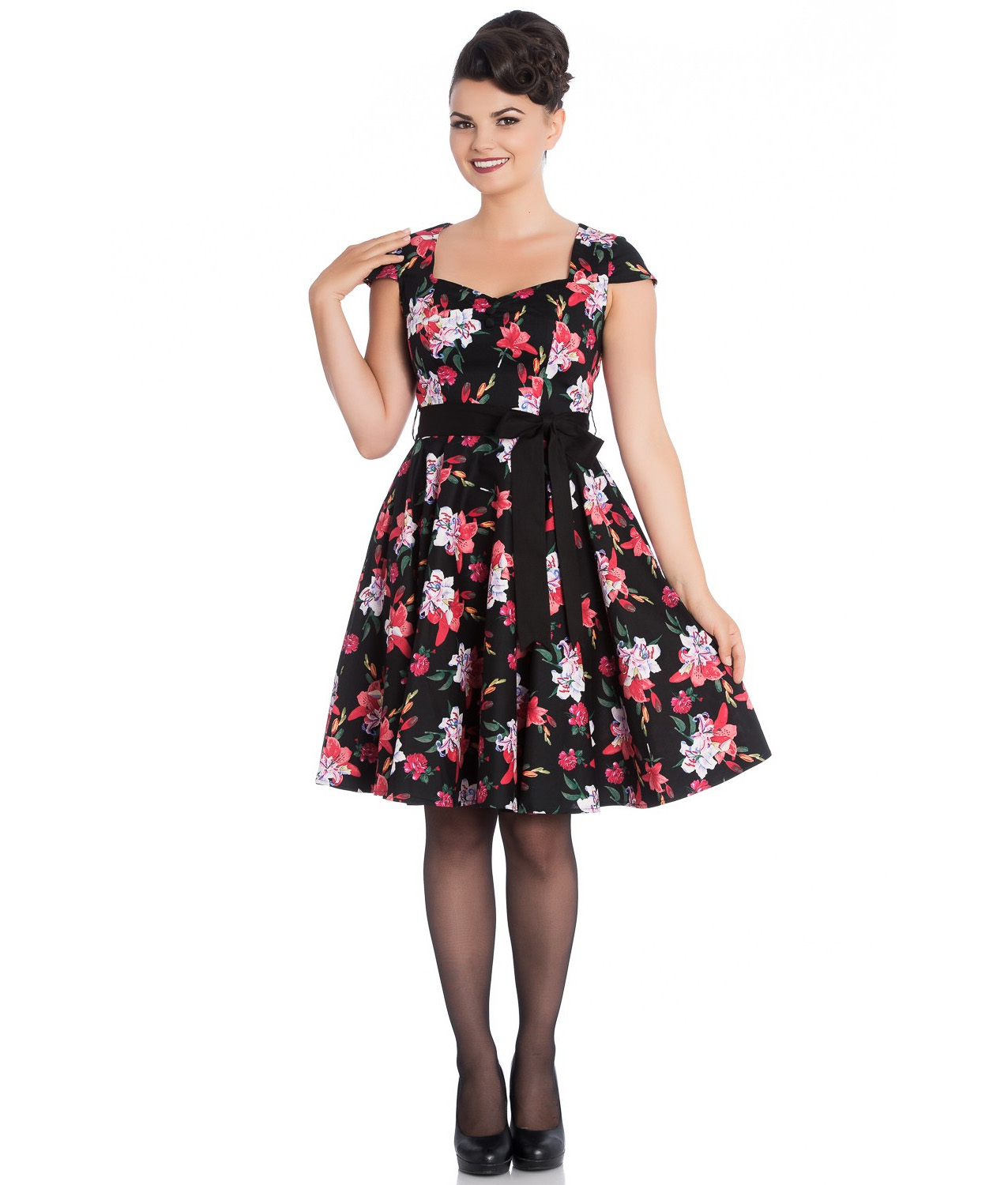 Hell-Bunny-Pin-Up-Mid-Length-50s-Dress-LILIANA-Lilly-Black-Flowers-Bow-All-Sizes thumbnail 3