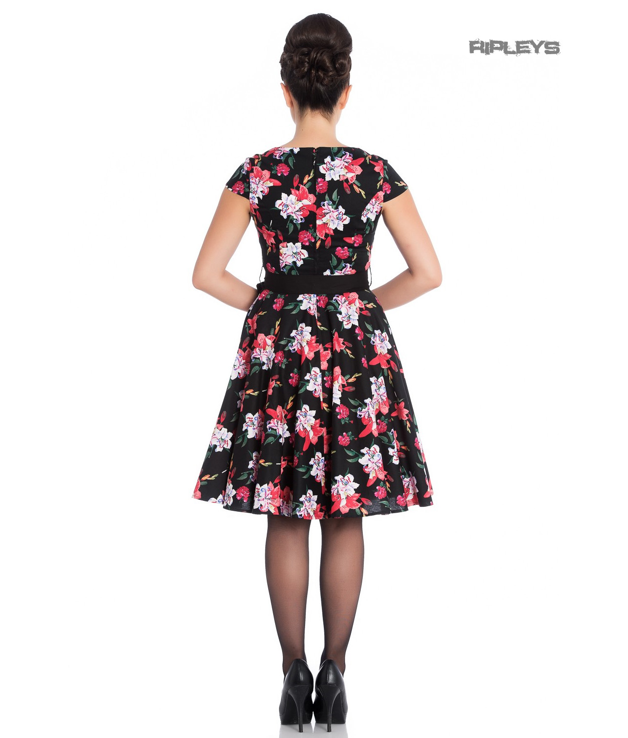 Hell-Bunny-Pin-Up-Mid-Length-50s-Dress-LILIANA-Lilly-Black-Flowers-Bow-All-Sizes thumbnail 12