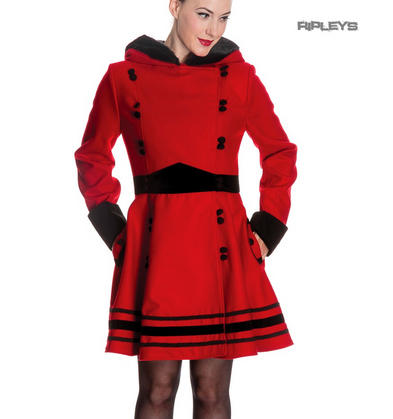 4eb685cadf Hell Bunny 50s Vintage Rockabilly Winter Coat SOFIA Bright Red Black All  Sizes