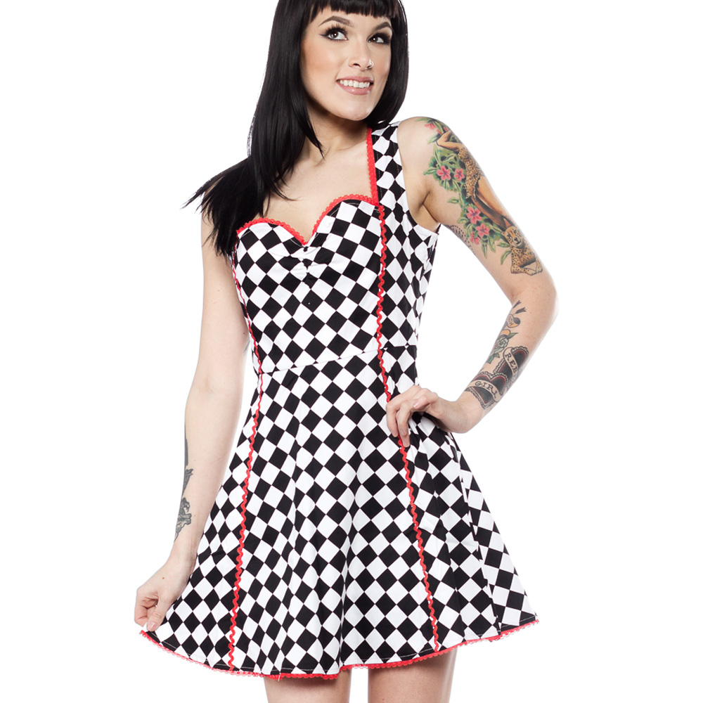 Sentinel Sourpuss Clothing Goth Mini Skater Dress LUCILLE Check Speed Queen All  Sizes 2c5160c03