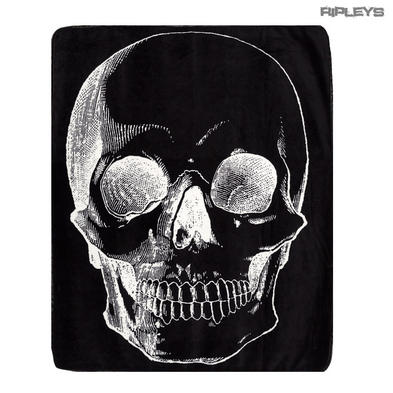 Sourpuss Gothic Halloween Large Black SKULL Fleece Thick Blanket Gift