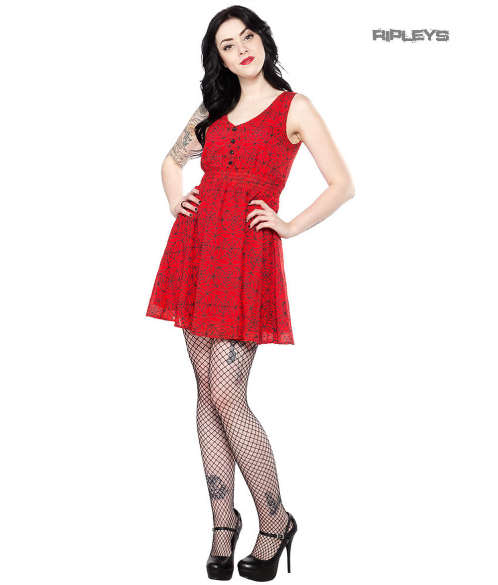 Sourpuss Clothing Goth Mini Skater Dress Caught in A WEB Red Spider All  Sizes 87614772c