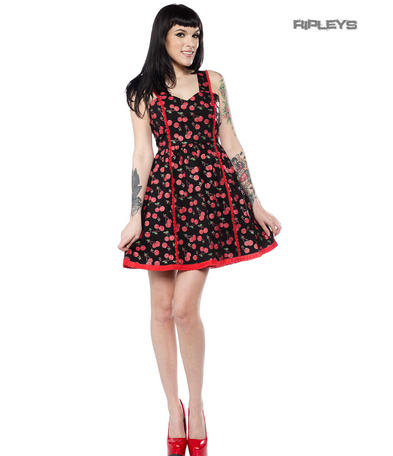 Sourpuss Clothing Goth Rockabilly Mini Skater Dress CHERRY Cobbler All Sizes