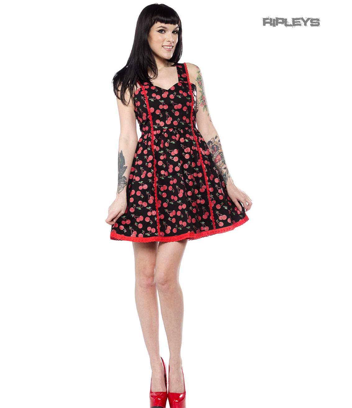 c33d6df47e3 Sourpuss Clothing Goth Rockabilly Mini Skater Dress CHERRY Cobbler All Sizes