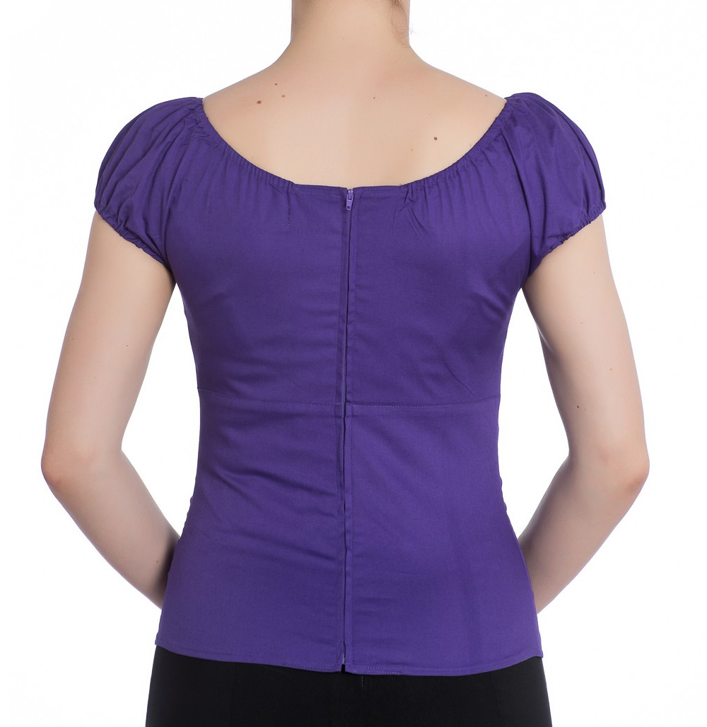 Hell-Bunny-Shirt-Gypsy-Top-MELISSA-50s-Plain-Purple-All-Sizes thumbnail 25