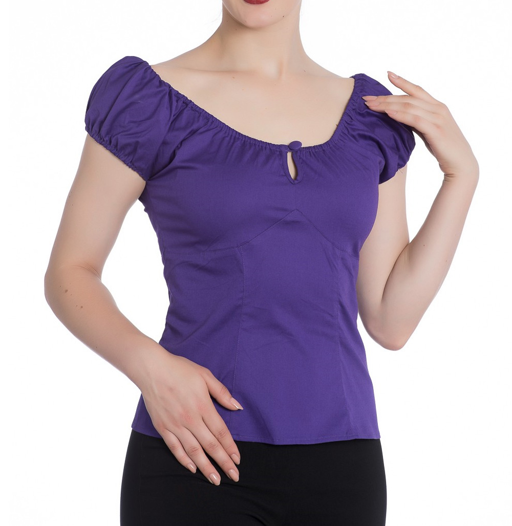 Hell-Bunny-Shirt-Gypsy-Top-MELISSA-50s-Plain-Purple-All-Sizes thumbnail 15
