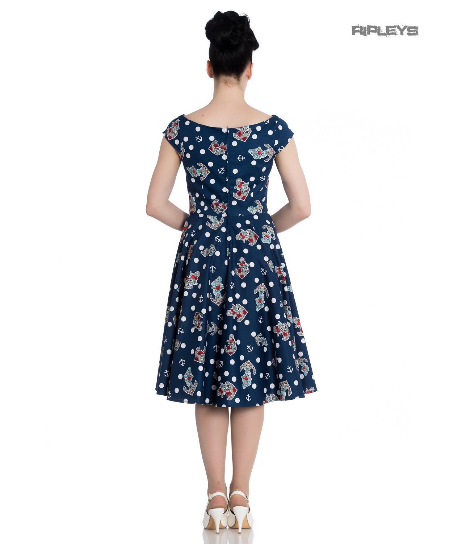 Hell-Bunny-50s-Nautical-Blue-Dress-SALINA-Oceana-Pin-Up-Rockabilly-All-Sizes thumbnail 18