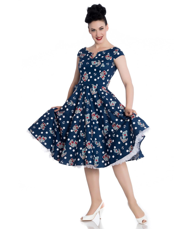 Hell-Bunny-50s-Nautical-Blue-Dress-SALINA-Oceana-Pin-Up-Rockabilly-All-Sizes thumbnail 17