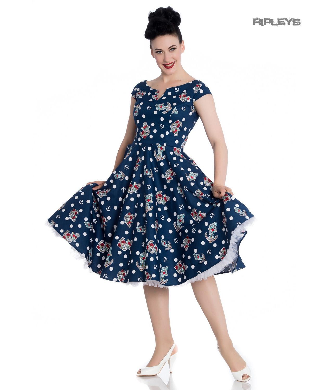 Hell-Bunny-50s-Nautical-Blue-Dress-SALINA-Oceana-Pin-Up-Rockabilly-All-Sizes thumbnail 16