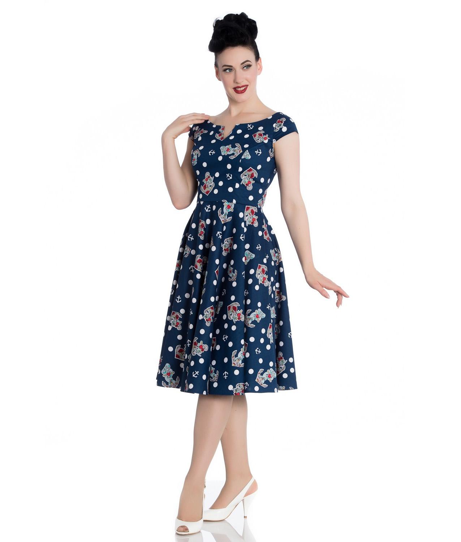Hell-Bunny-50s-Nautical-Blue-Dress-SALINA-Oceana-Pin-Up-Rockabilly-All-Sizes thumbnail 3