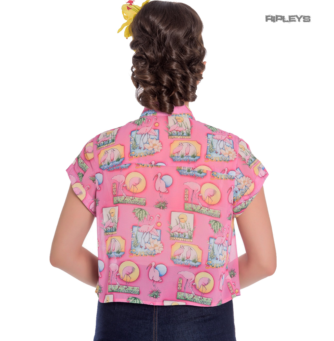 thumbnail 11 - Hell Bunny 50s Retro Top Pink Flamingo MAXINE Cropped Blouse Shirt All Sizes
