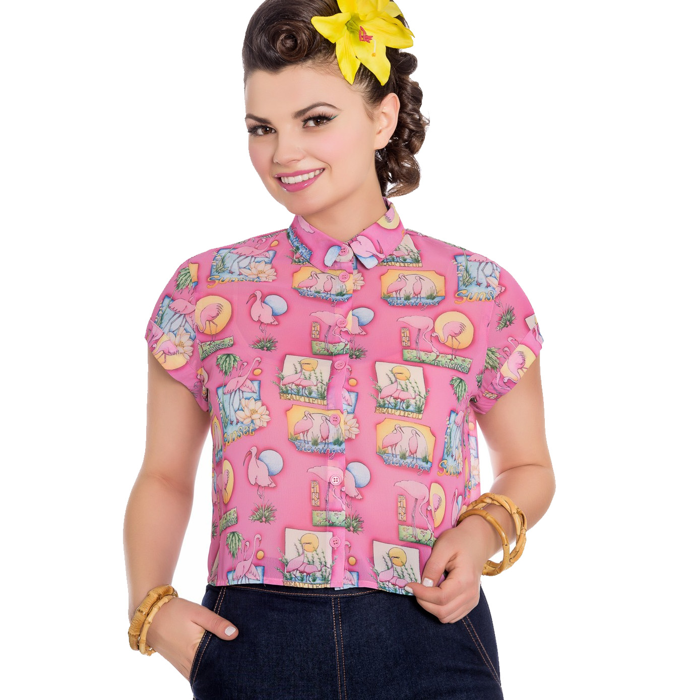 thumbnail 10 - Hell Bunny 50s Retro Top Pink Flamingo MAXINE Cropped Blouse Shirt All Sizes