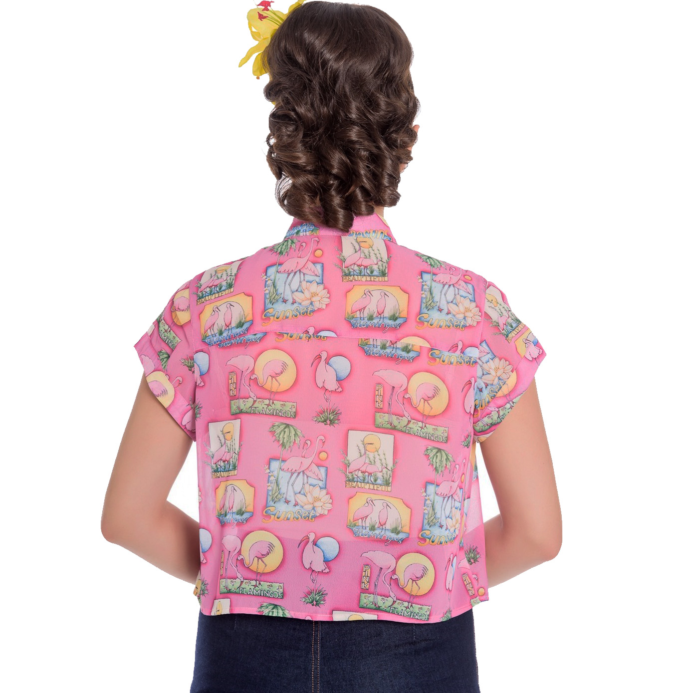 thumbnail 8 - Hell Bunny 50s Retro Top Pink Flamingo MAXINE Cropped Blouse Shirt All Sizes