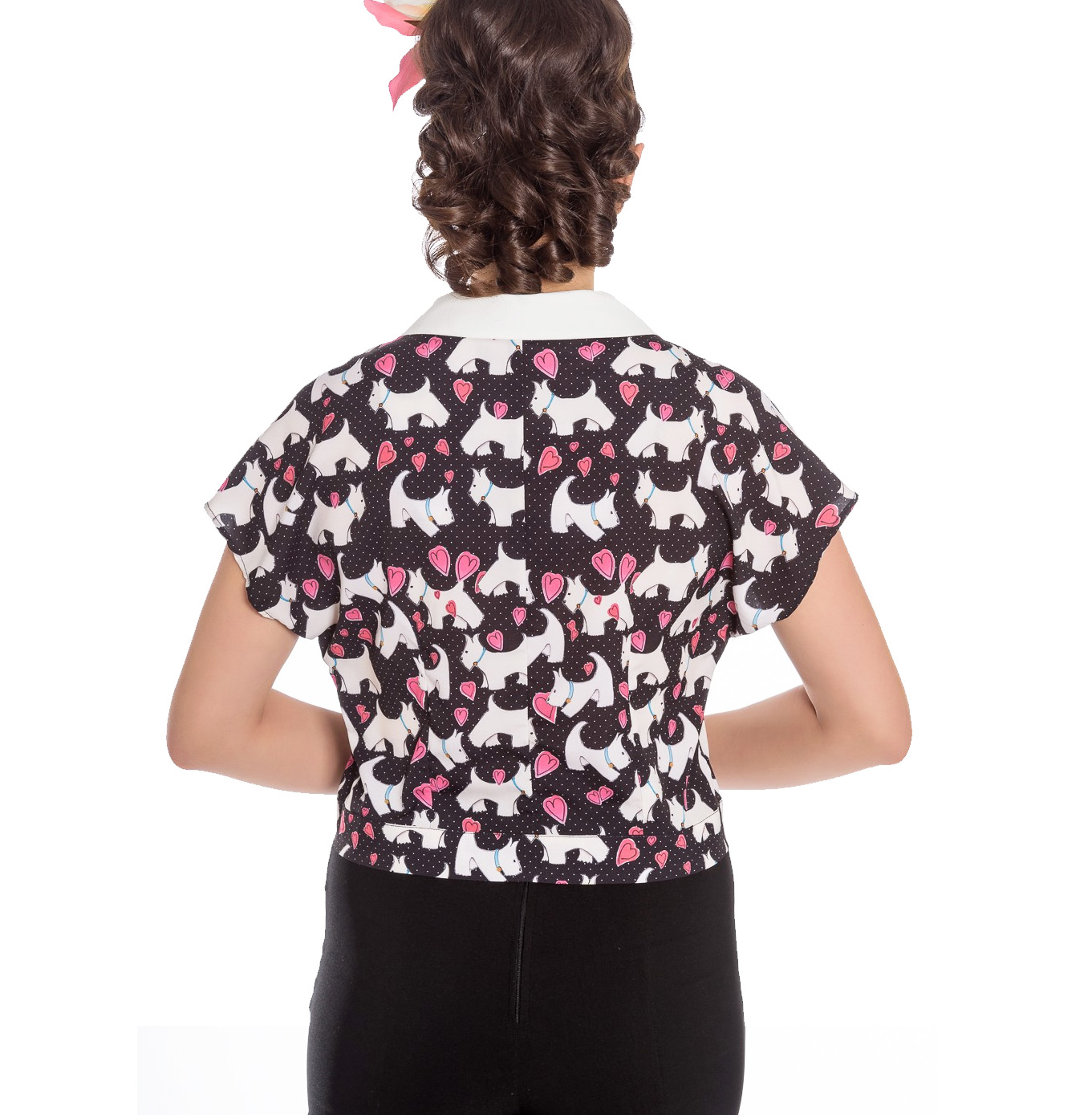 Hell-Bunny-50s-Retro-Top-Scottie-Dog-Heart-AGGY-Cropped-Blouse-Shirt-All-Sizes thumbnail 5