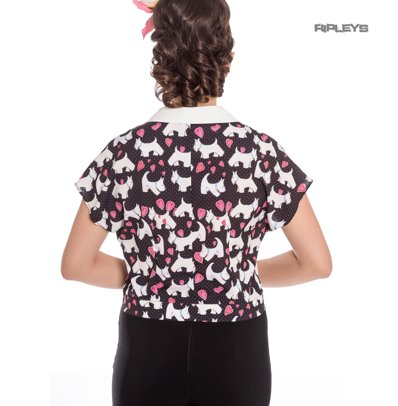 Hell-Bunny-50s-Retro-Top-Scottie-Dog-Heart-AGGY-Cropped-Blouse-Shirt-All-Sizes thumbnail 4