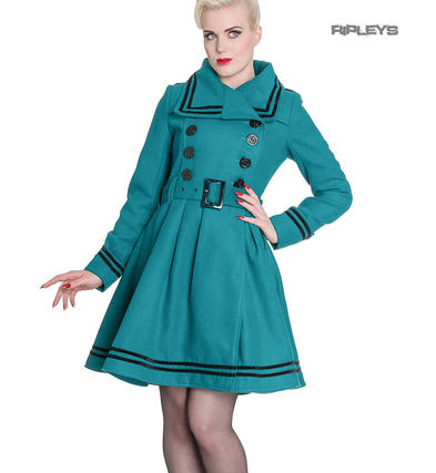 Hell Bunny 50s Vintage Rockabilly Winter Coat MILLIE Teal Blue/Green All Sizes
