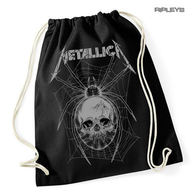 Official Black METALLICA Metal Grey Spider Skull Webs Drawstring Bag