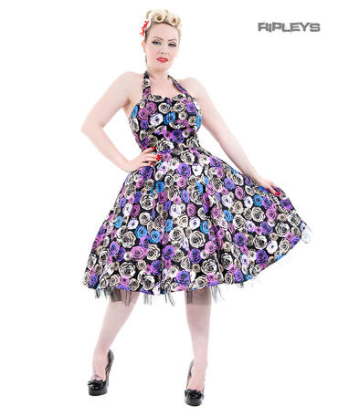 H&R Hearts & Roses London 50s Pin Up Dress 'Bleeding Rose' Purple All Sizes