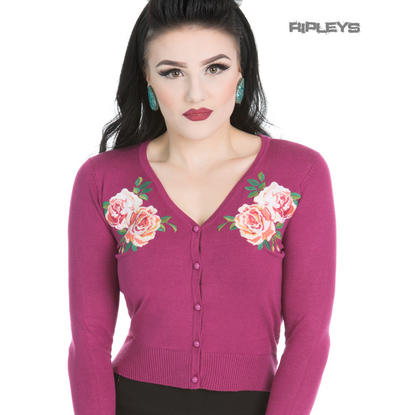 H&R Hearts & Roses London Cardigan Shrug 'Rosy' Rose Flower Wine Purple All Size